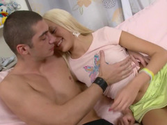 Anal fucking of blonde dollface and self-confident guy
