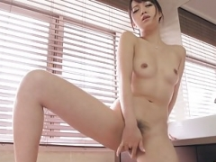 Sexy Kotomi rubbing & toying her soggy & hairy love hole