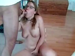 Sexy hot girl wearing glasses sucks a guy till his cum.