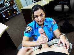 Stunning booty Police lady peels off clothes and posture naked in the shop
