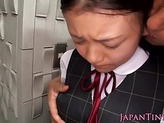 Japanese petite tit and facefucked by guy