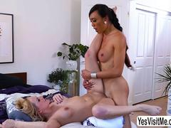 Asian shemale Venus Lux penetrates Kate Englands pussy