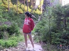 Outdoors solo session with a young hottie
