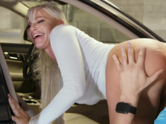 Mommy in the parking garage takes cock in her cunt