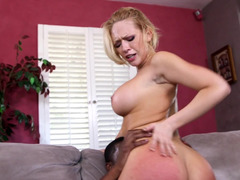Handsome black stud with a large cock pounds a fine blonde lady