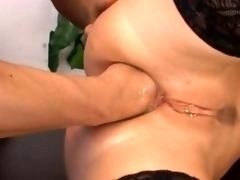 Tight chocolatehole fisting sex on the table