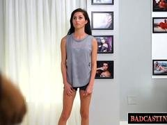 Timid Evelyn strips off her clothes for her casting
