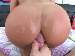 A blonde with a nice round ass is getting her ass penetrated well