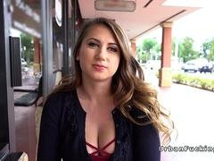 Natural busty student fucks for money