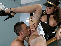 Airline stewardess gets nailed