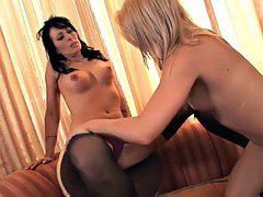 Stockinged stepmom licking in lesbian couple