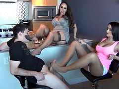 men lick pantyhose and footjob