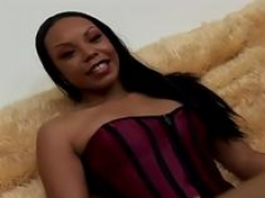 Ebony sweetie gets soggy creampie after banging