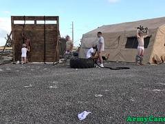 Army troop group fucking and sucking outdoor
