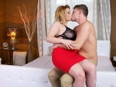 MOM Chubby natural big tits MILF loves to play with younger guys big cock