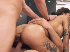 A big ass honey is receiving three cocks in her hot holes