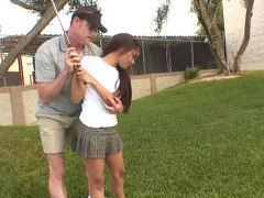 Golf coach fucks the petite Latina teen in the locker room