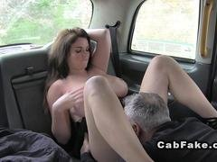 Huge tits brunette rimming in fake taxi