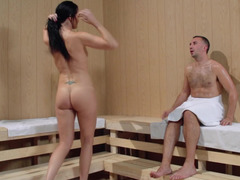 A big ass woman is in the sauna and she is getting fucked hard