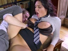 A hot schoolgirl is getting penetrated in the teachers office