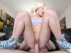 Blonde cutie in sweet pigtails fucked hard by a strong man