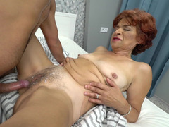 Granny has a wet cunt that his college cock fucks hard