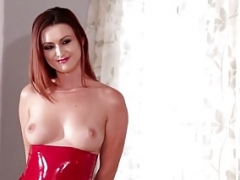 Bigtitted redhead les riding dykes strapon in duo