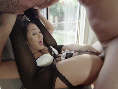 Maid from Asia wants to be analyzed hard by her boss