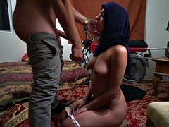 Arab get drilled in her pussy doggystyle by a white cock