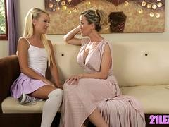 Blonde mom and her Astonishing stepdaughter making out on the couch