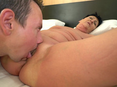 Chubby granny gets laid by his hard young dick