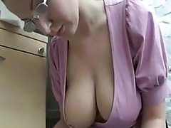 A Blonde with Nice Saggy Tits Working