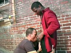 black two workers cleaning a white man taking in the ass