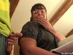 Busty bookworm bitch picked up for play