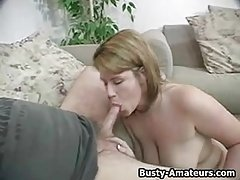 Busty amateur Lisa sucking white cock