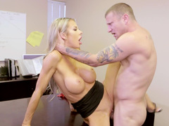 Office bimbo seduces him with a deepthroat BJ and they fuck