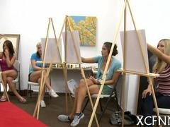 Art class babes have fun with nude art models together