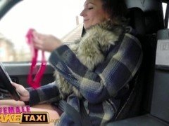 Female Fake Taxi Drivers dildo results in squirting lesbian orgasms in taxi
