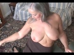 Glamorous bigtitted granny striptease
