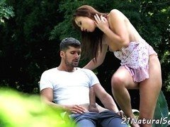 Glam beauty pounded in outdoor action