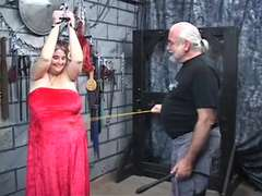 Strong caked thick Restrain Bondage & Discipline ebony-haired gets caned and caned by master