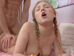 Cute braided pigtails on the Euro teen he fucks with passion