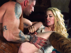 Bad guy appears in the bar to fuck blonde waitress hard