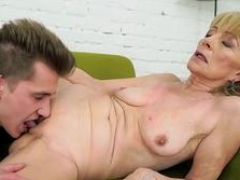 Granny is desirous to take that huge young and besides fresh ramrod and besides put it in between her legs