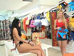 Blondie try on blue bikini and fucked for some money