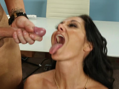 A busty slut with a sexy pussy is receiving cum in her mouth