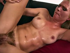MILF blonde hairy pussy fucked couch kathy anderson