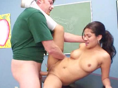 Latina schoolgirl has a thing going with her horny teacher