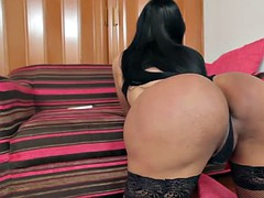 latina ts caressing her tail and toys her ass