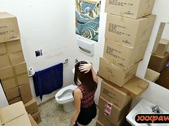 Pretty babe drilled by pawn keeper in pawnshops toilet